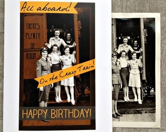 Crazy train Birthday card, vintage style birthday card #54