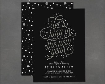 New Year's Party Invitation, Printable Invitations, New Year's Eve Party, Confetti Printables, Christmas Party Invitations - JPEG or PDF