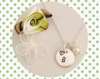 Custom Initial Necklace - STERLING SILVER Personalized Jewelry - Wire Wrapped Pearl - Initial - Monogram - Name - Heart - Pearl - Quick SHIP