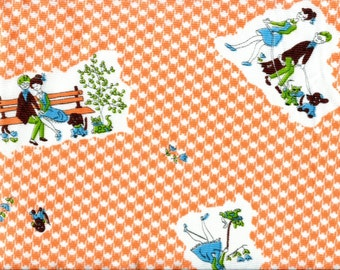 1960s Orange Houndstooth Couple in Park Polyester Fabric Novelty Dog Cat Man and Woman Walking the Dog Vintage Fabric Remnant 35 X 54