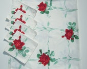 Vintage WILENDUR Tablecloth & Napkins Red American Beauty Rose