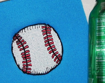 Softball or Baseball Custom Bottle Cooler Machine Embroidery with Your Custom Name Too.  Choose size, font, colors.