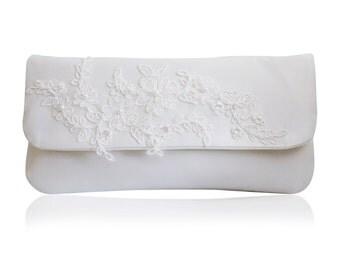 Ivory satin bridal applique Felicity clutch purse