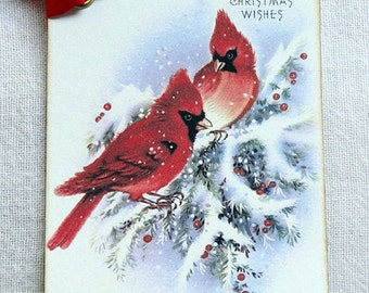Christmas Wishes Red Cardinal Bird On Snowy Pine Branch Gift or Scrapbook Tags or Magnet #611