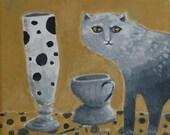 Modern folk art painting of ombre cat