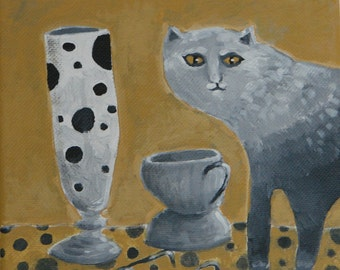 Modern folk art painting of ombre cat