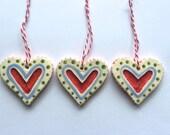 Heart Ornaments, Ceramic Set of 3