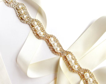 Elegant Crystal and Pearl Bridal Belt Sash in Gold - Custom Satin Ribbon - Rhinestone Pearl Wedding Dress Belt - Long