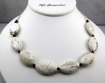 Sterling Silver, Howlite and Smokey Quartz Necklace