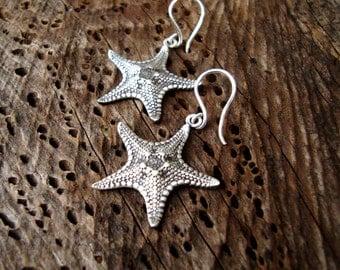Starfish Earrings Sterling Silver Starfish Dangle Earrings Silver Statement Earrings Boho Earrings Christmas star earrings