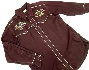 Vintage Mens Western Shirt, Embroidered, Piped Details, Millers Western Wear, Denver Colorado