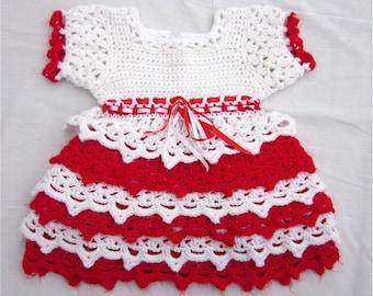 Vintage 1960s Little Girls Crochet Red / White Dress