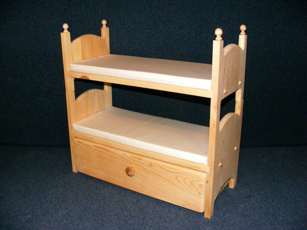 Stackable Doll Bunk Bed with Trundle and Mattresses American