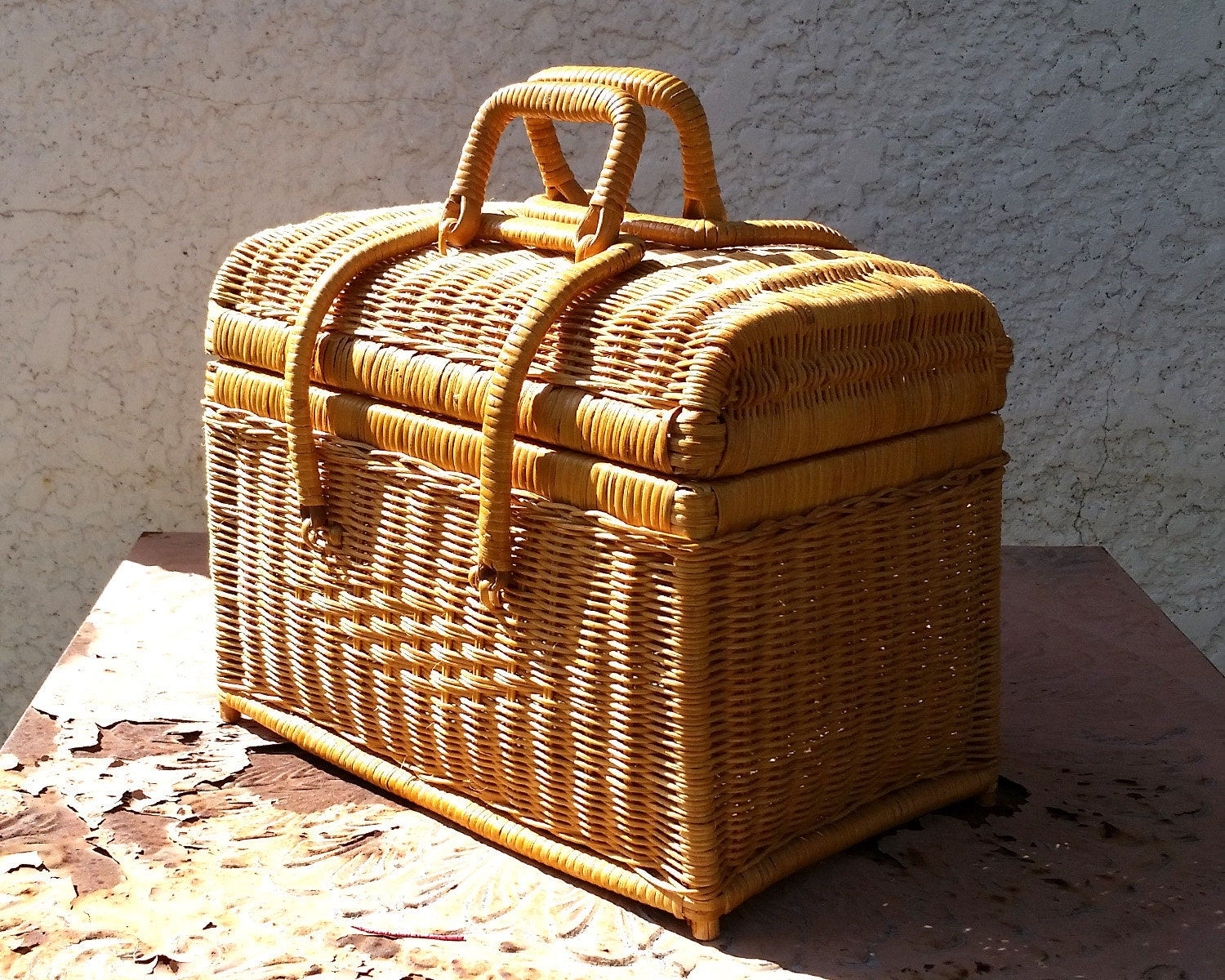 Woven Basket With Hinged Lid : Vintage woven wicker basket with double hinged lid by