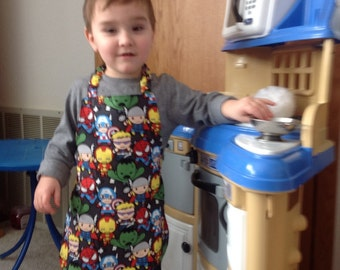 Reversible apron_Baby super heroes_Apron_toddler_Kids Arts and