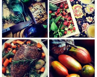Photo Print Set 4 Square Food Meal Organic Kitchen Dining Room Fine Art Photos