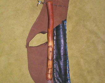 Birch Wood Wand with Selenite Tip and Leather Belt Pouch