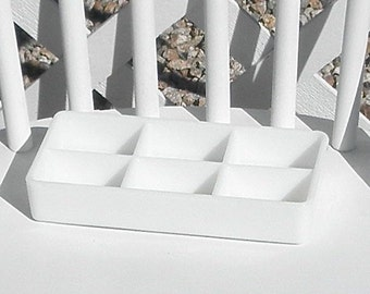 Dental Tray Vintage Milk Glass Six Section American Cabinet Vanity Drawer Office Cosmetics Craft Organizer Beading Jewelry