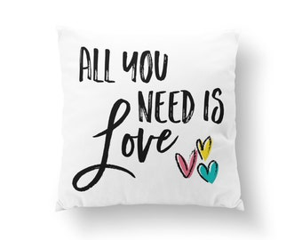 Nursery Pillow, Kids Room Pillow, Quote Pillow, Throw Pillow, All You Need is Love Pillow // N-G70-1PW AA1