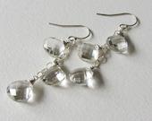 Clear Rock Crystal Bridal Earrings - Long Dangle Earrings - Ready to Ship - Handmade in Seattle - Triple Dangle