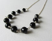 Black Spinel Gemstone Necklace - Handmade Wire Wrapped Jewelry - Round Black Faceted Stones