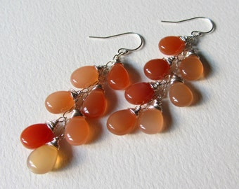 Long Smooth Peach Moonstone Earrings - Wire Wrapped Sterling Silver Jewelry Handmade in Seattle