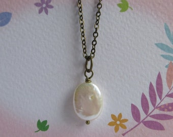 Oval Pearl Necklace, Cream White Freshwater Pearl Pendant, Antiqued Brass Chain, Everyday Jewelry