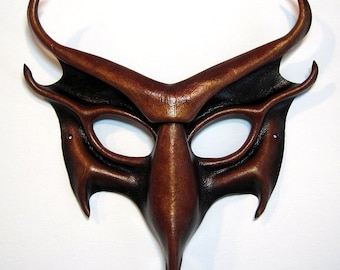 Devil leather mask, hand-molded and hand-painted, in black, deep red, and gold, Satan, demon, Lucifer, horns, Halloween