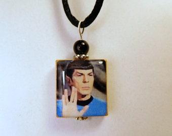 Spock - LIVE LONG and PROSPER Pendant / Star Trek - Trekkie Pendant / Handmade Jewelry / Necklace with Satin Cord