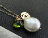 2-DAY 20% OFF SALE Personalized jewelry, hand stamped letter necklace with birthstone, coin pearl necklace, mothers neckace. gold filled, pe