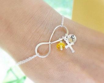 Personalized Infinity Bracelet, Cross charm Bracelet, Silver initial bracelet, cross bracelet, Christian jewelry, religious