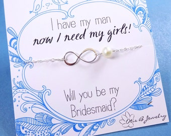 Bridesmaid gifts, Be my bridesmaid, asking bridesmaids, infinity necklace, pearl necklace for bridesmaids, otis b, wedding jewelry, bridal