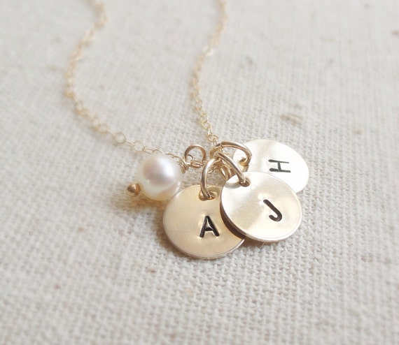 Personalized gold necklace with Birthstone & THREE initial charms, gold filled, bridesmaid gift, sisters, mothers necklace, family, childre