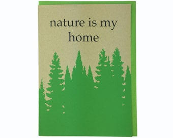 Nature is my Home Blank Card Recycled Paper Compostable Plastic Environmentally Friendly