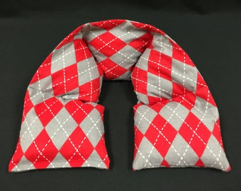 Flannel Heated Neck Wrap, Corn Bag Heating Pad, Microwavable Neck Warmer, Valentines Day Gift, Massage Spa Gift - Red Gray Argyle Flannel