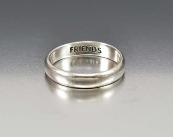 Sterling Silver Best Friend Ring, Friendship Band Ring, Engraved Personalized Ring, Everyday Ring, Simple Friendship Ring, Gift for Her