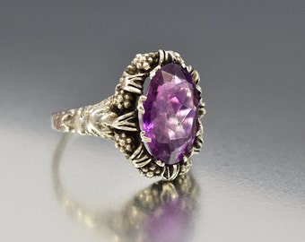 Antique Victorian Silver Amethyst Ring, Austro Hungarian Ring, Natural Amethyst Statement Ring, Rustic Wedding Antique Jewelry Arts Crafts