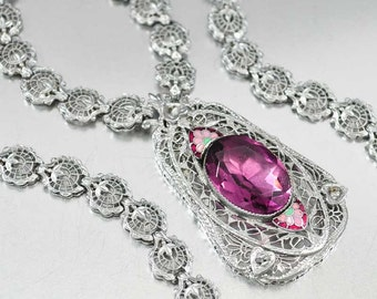 Edwardian Enamel Amethyst Necklace, Silver Filigree Pendant Crystal Rhinestone Necklace, Antique Jewelry, Wedding Jewelry Art Deco Necklace