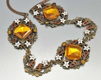 Czech Art Deco Necklace, Enamel Flower Topaz Necklace, Amber Rhinestone Necklace, Vintage 1920s Jewelry, Antique Jewelry, Czech Necklace