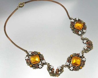 Czech Art Deco Necklace, Enamel Flower Topaz Necklace, Amber Rhinestone Necklace, Vintage 1920s Jewelry, Antique Jewelry, Czech Necklace