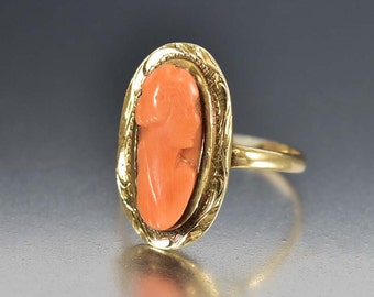 Antique Coral Victorian Ring, Cameo Ring, 10K Gold Antique Ring, Victorian Ring, Antique Jewelry, Size 6 Victorian Jewelry, Dinner Ring