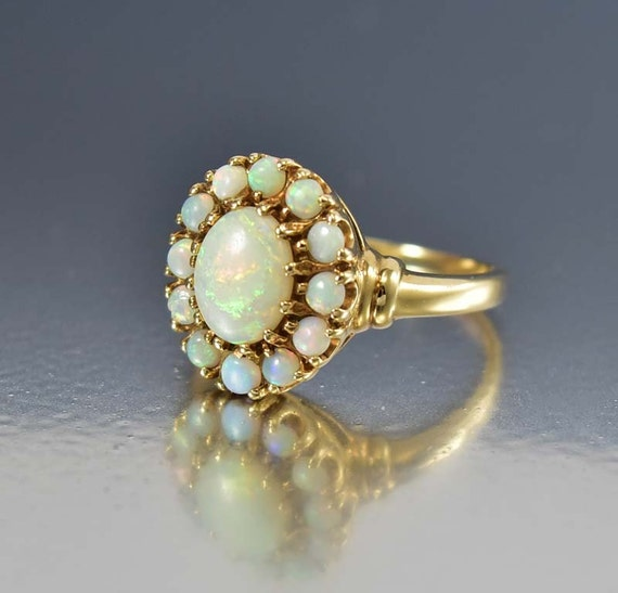 Opal Ring Australian Opal Engagement Ring 10k Gold Antique