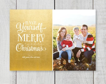 Merry Little Christmas 7x5 holiday photo card