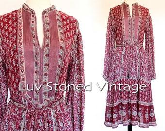RESERVED. Vintage 70s Interlinks London Empire Boho Hippie Cotton Metallic Gauze Gypsy India Festival Midi Dress | SM | 1166.4.30.16