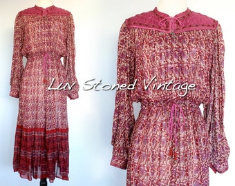 Vintage 70s Indian Ethnic Cotton Boho Hippie India Gypsy Festival Midi Maxi Dress D065 . L/XL . 1178.5.18.16