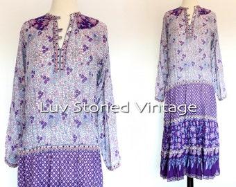 70s Vintage Kaiser Pakistan India Tent Cotton Boho Hippie Indian Ethnic Festival Midi Maxi Dress | XS - SM | 1122.9.22.15