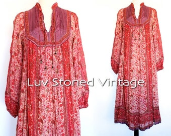 70s Vintage India Tent Cotton Boho Hippie Sheer Indian Tent Tunic Ethnic Festival Midi Maxi Dress | XS - Small | 1125.9.22.15