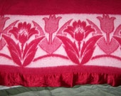 "Perfect 1940's Red Blanket with Tulips, 66"" x 72"", Binding Perfect, Unknown Fabric"