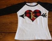Valentines Day Shirt, Valentines Outfit, Buffalo Plaid Shirt, Initial Shirt, Arrow Shirt, Heart Shirt, Buffalo Check, Made to Order
