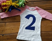 2nd Birthday Shirt, Birthday Girl Shirt, Number 2 Birthday, Baseball Raglan Shirt, Birthday Shirt, Blue and Purple, Glitter Birthday Shirt